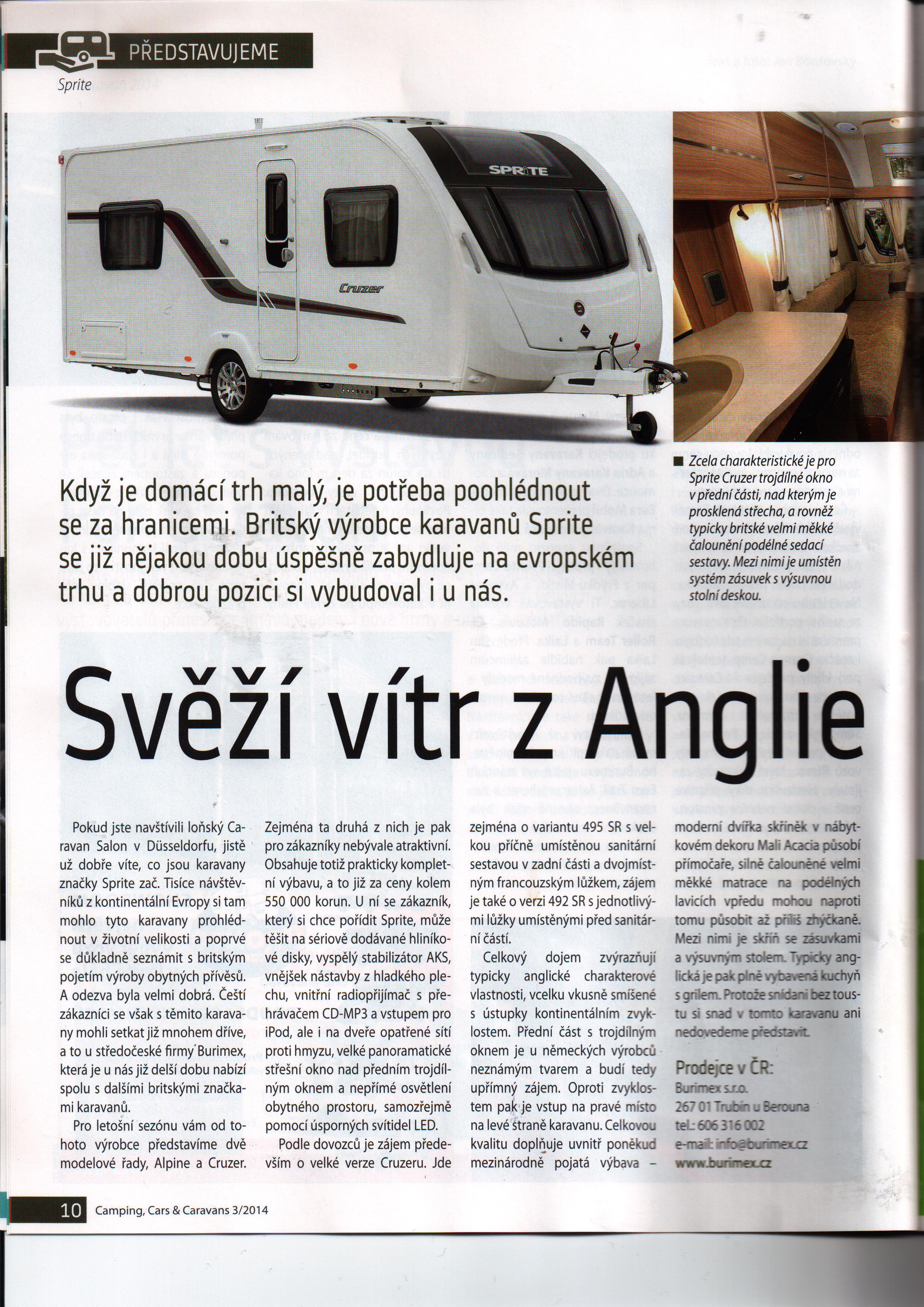 Článek o našich karavanech v časopisu Camping,Cars and Caravans