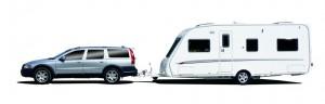 Auto se zapřaženým karavanem